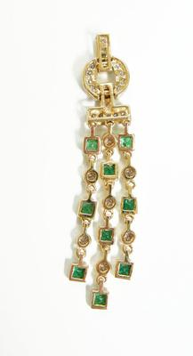 14K Gold Diamond and Emerald Pendant - ESTATE - Alternate View 2