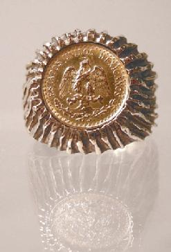 Men's Vintage 14k Yellow Gold Mexican Dos Peso Ring
