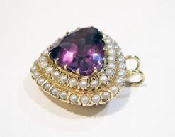Vintage 14K YG Heart-Shaped Amethyst/Pearl Pendant - Side View