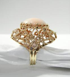 Vintage Large 14K YG Angelskin Coral Custom Ring-1962 - Side View