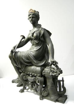 Rare Ansonia Clock Statue - 'Opera' - c. 1894 - Alternate View