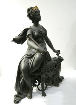 Rare Ansonia Clock Statue - 'Opera' - c. 1894 - Side View