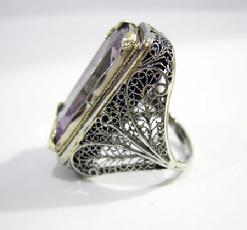 Art Nouveau 18K White and Yellow Gold  Amethyst 'Belais' Ring - View Left Side