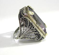 Art Nouveau 18K White and Yellow Gold  Amethyst 'Belais' Ring - Right Side View