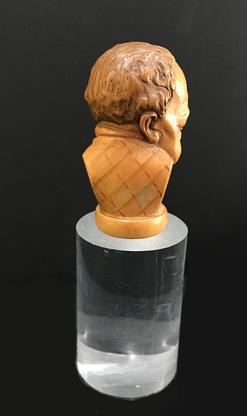Antique Hand-Carved Wooden Cane/Walking Stick Figural Handle - Bust of a Man-View From the Back