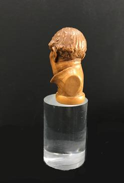 Antique Hand-Carved Wooden Cane/Walking Stick Figural Handle - Bust of a Man - View of the Left