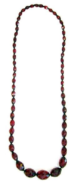 Antique Graduated Faceted Cherry Amber Necklace - 1920's - 32.5 inches