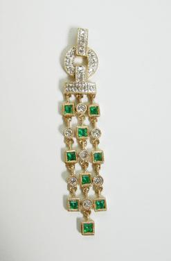 14K Gold Diamond and Emerald Pendant - ESTATE - Alternate View