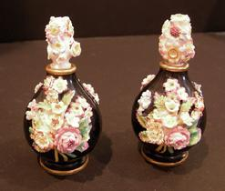 19th c. French Porcelain Jacob Petit Black Ground Flower Encrusted Scent Bottles and Covers - Side View
