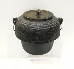 Antique Japanese Iron Tea Ceremony Kettle with Bronze Lid-Signed Ryubundo zo - Alternate View