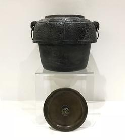 Antique Japanese Iron Tea Ceremony Kettle with Bronze Lid-Signed Ryubundo zo -View of Both Pieces