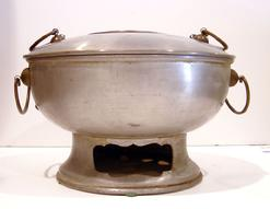 Antique Korean White Metal/Brass Hot Pot - Front View