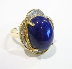 Vintage 14K Yellow Gold Lapis and Diamond Ring - Alternate Side
