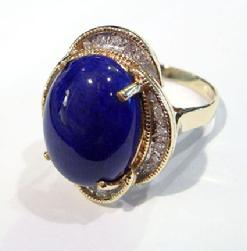 Vintage 14K Yellow Gold Lapis and Diamond Ring - Alternate View