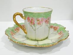 Antique Art Nouveau Limoges Demitasse Cup/Saucer -1891-1914 - Handle Left View