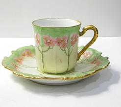 Antique Art Nouveau Limoges Demitasse Cup/Saucer -1891-1914 - Handle Right View