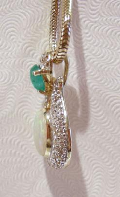 14K YG Opal Diamond Emerald Pendant - Side View