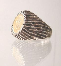 Men's Vintage 14k Yellow Gold Mexican Dos Peso Ring - Side View