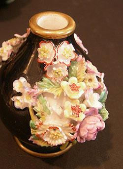 Pr. 19th c. Jacob Petit Black-Ground Flower-Encrusted Scent Bottle