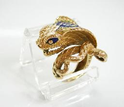 Vintage 18k YG and Enamel Cobra Ring - View Left Side