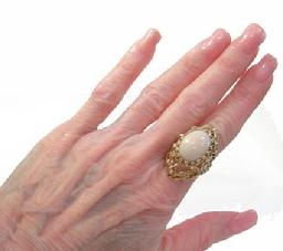 Vintage Large 14K YG Angelskin Coral Custom Ring-1962 -Wearable View
