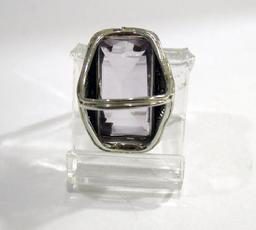 Art Nouveau 18K White and Yellow Gold  Amethyst 'Belais' Ring - Reverse View