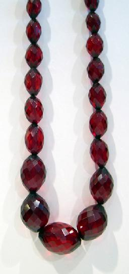 Antique Graduated Faceted Cherry Amber Necklace - 1920's - Closeup View 2