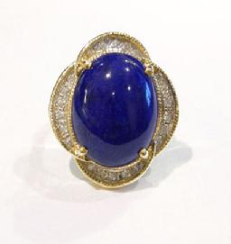 Vintage 14K Yellow Gold Lapis and Diamond Ring - Front View