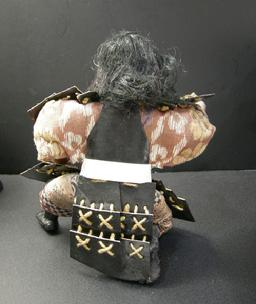 "Antique Japanese Musha Retainer Doll - 9 1/2"" - Rear View No Hat"