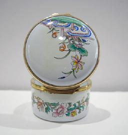 Vintage Staffordshire Enamel Asian Inspired Floral Trinket Box - Original Box and Documentation - Reverse View Open
