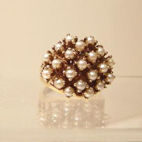 10k YG Pearl Cluster Ring