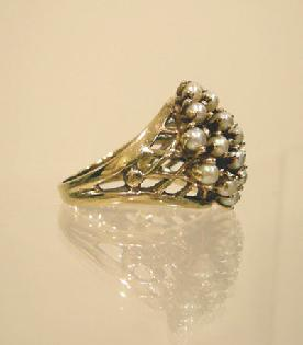 10K YG Pearl Cluster Ring Side View