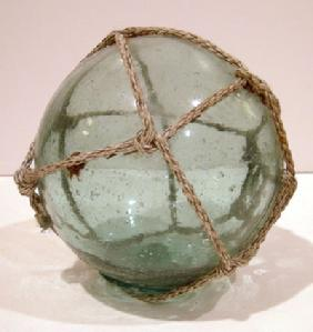 Antique Japanese Teal/Aqua Fishing Float -Alternate View