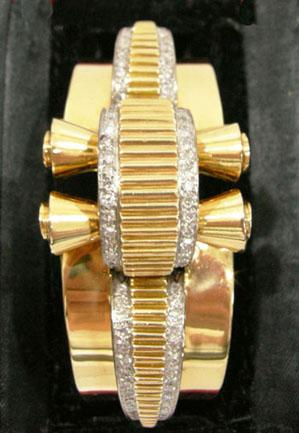Art Deco 18K YG Platinum Trimmed Diamond Bangle/Cuff Bracelet - Signed Herny - Straightup View