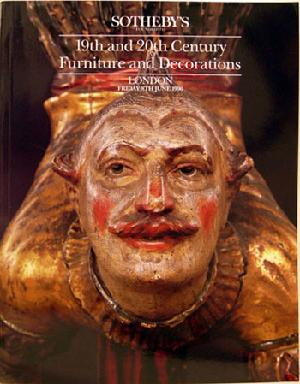 Sotheby's Auction Catalogue: 19th/20th c. Furniture & Decorations June 8, 1990