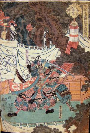 19th c. Japanese Musha-e (Warrior Print) Right Panel of a Triptych by Yoshitora