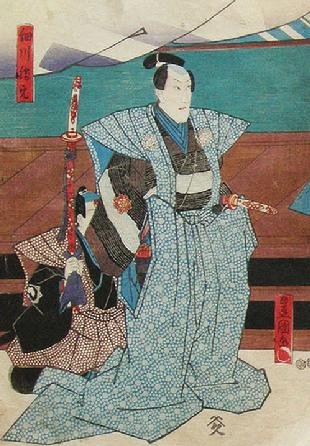 Original Japanese Woodblock Oban Actor Triptych- 1849- Kunisada Utagawa/Toyokuni III- Left Panel Closeup View