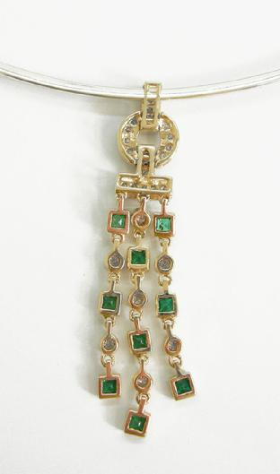 14K Gold Diamond and Emerald Pendant - ESTATE - Reverse View