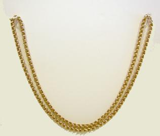 18K YG Triple Oval Link Necklace Doubled