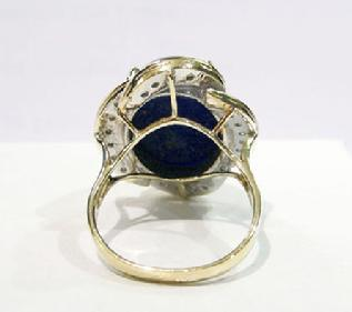 Vintage 14K Yellow Gold Lapis and Diamond Ring - Reverse View