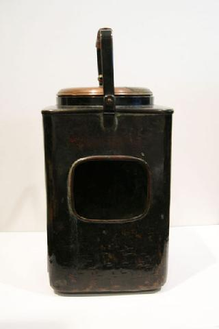 Antique Japanese Copper Mengei `Shoto� (Small Portable Stove) - Rear View
