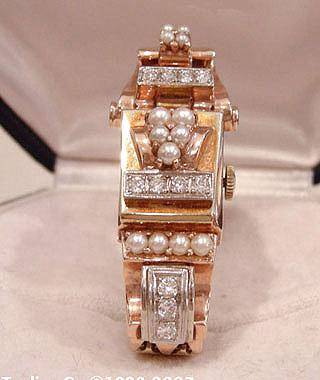 Ladies 14K Two-Color Gold Pearl and Diamond Covered Cocktail Watch - Closeup View