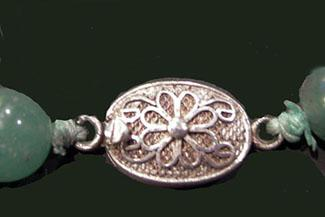 Long Chinese Carved Jade and Coral Necklace with Disc and Cat on a Leaf Carving - Clasp Closeup