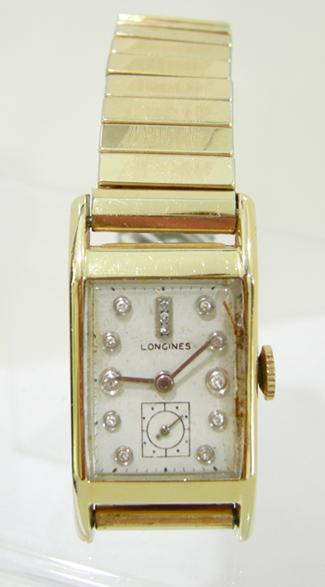 Vintage Men's 14K YG Diamond Dial Longines' Tank Watch - 1940's - Front View