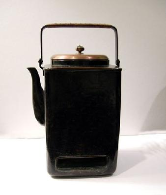 Antique Japanese Copper Mengei `Shoto� (Small Portable Stove) - Left Side View