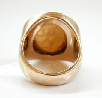 Men's Vintage Large 14K YG Cinco Pesos Coin Ring - 1955 - Interior View