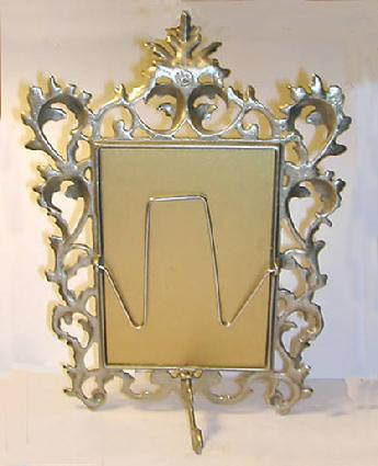 Old World Style Elaborate Metal Picture Frame - Estate - Reverse View