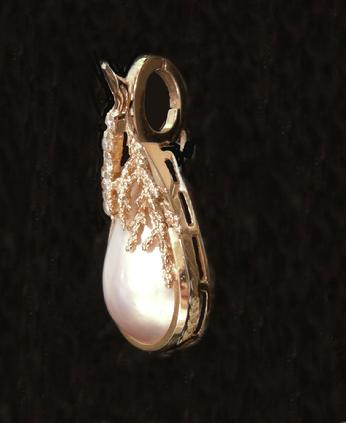 Vintage 14k YG Mabe Pearl and Diamond Pendant - Left side View