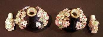 Pr. 19th c. Jacob Petit Black-Ground Flower-Encrusted Scent Bottles and Stoppers - Top View