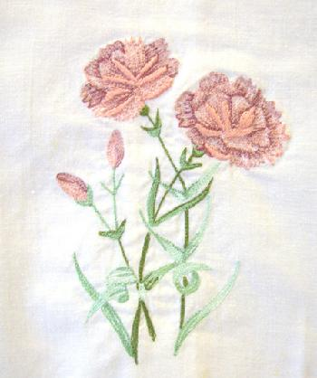 Vintage Embroidered Floral Guest Towel Closeup